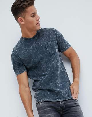 Asos DESIGN relaxed longline t-shirt with pocket in acid wash