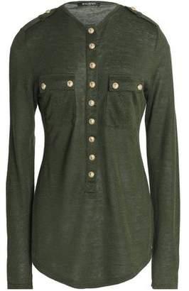 Balmain Button-Detailed Slub Linen-Blend Jersey Top