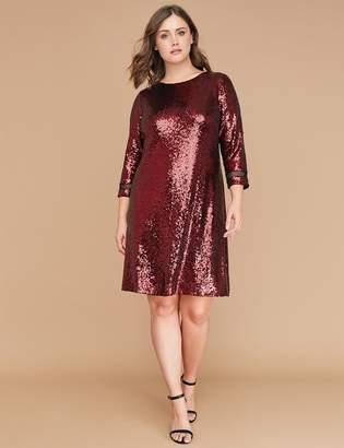 Lane Bryant 3/4 Sleeve Sequin Swing Dress