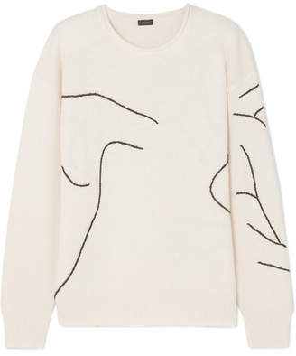 Joseph Embroidered Wool Sweater - Ecru