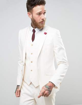 Devils Advocate Wedding Skinny Fit Cream Weave Suit Jacket With Burgundy Floral Lapel Pin