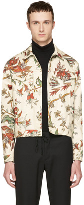 McQ Alexander McQueen Beige Denim Floral Billy Jacket $595 thestylecure.com