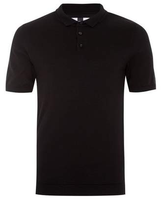 Topman Mens Black Muscle Fit Knitted Polo