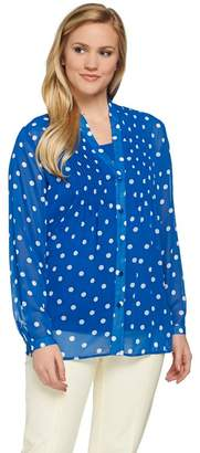 Susan Graver Polka Dot Sheer Chiffon Shirt Set with Pleat Detail