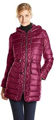 Kenneth Cole Women's Packable Puffer Coat with Cinch Waist