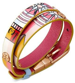 Tory Burch Printed Reversible Leather Wrap Bracelet