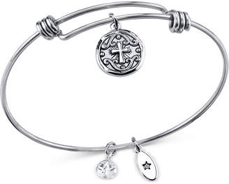 Unwritten Crystal Accented Cross Disc Charm Adjustable Bangle Bracelet in Stainless Steel