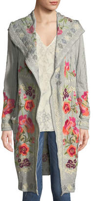 Johnny Was Plus Size Sysen Hooded Duster Cardigan w/ Floral Embroidery