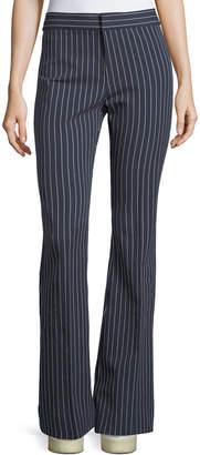 Derek Lam 10 Crosby Mid-Rise Striped Flare Cotton-Stretch Trouser