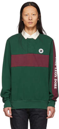 Leon Aime Dore Green and Burgundy Striped Rugby Polo