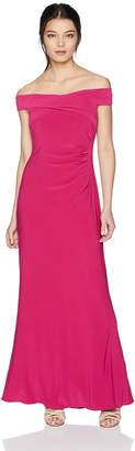 Adrianna Papell Women's Petite Off Shoulder Draped Matte Jersey Long Mermaid Gown