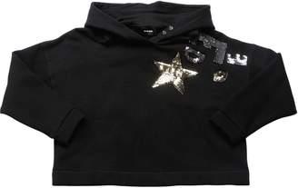 Diesel Sequined Crop Cotton Sweatshirt Hoodie