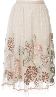 Biyan floral embroidered mesh skirt