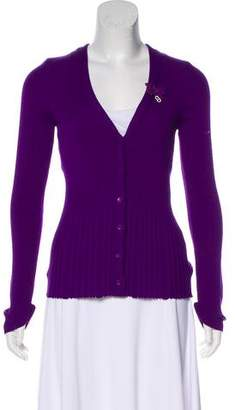 Christian Dior Rib Knit Wool Cardigan