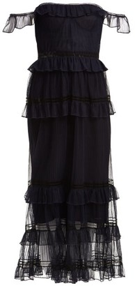 Jonathan Simkhai Strapless Ruffled Tulle Dress - Womens - Navy