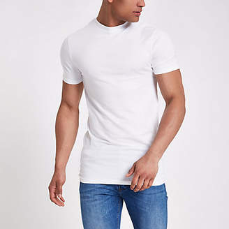 River Island White muscle fit longline T-shirt