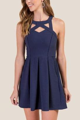 francesca's Jenny Cut Out Fit and Flare Dress - Navy