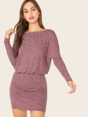 Shein Dolman Sleeve Rib-knit Blouson Dress