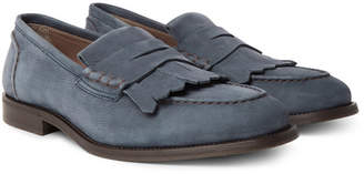 Brunello Cucinelli Full-Grain Nubuck Kiltie Loafers - Men - Storm blue