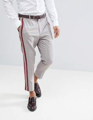 Asos Design DESIGN tapered smart pants in check with tartan side stripes