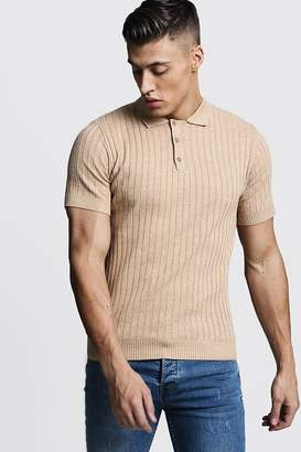 boohoo Muscle Fit Ribbed Knitted Polo