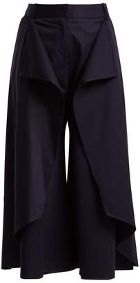 Palmer//harding - Ruffled Stretch Cotton Culottes - Womens - Navy