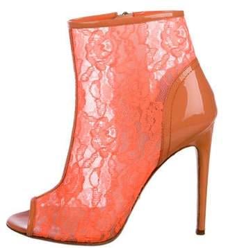 Jerome C. Rousseau Lace Peep-Toe Boots