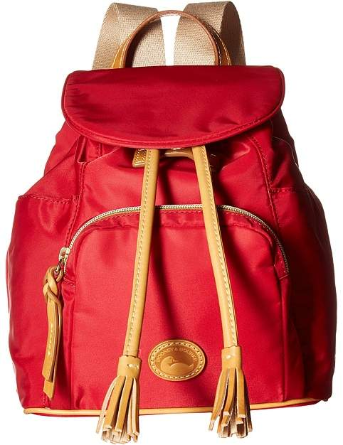 Dooney & Bourke Miramar Medium Murphy Backpack Backpack Bags - RED/BTRSCTCH TRIM - STYLE