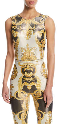 Versace Sleeveless Metallic Baroque Print V-Back Top