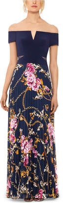 Xscape Evenings Off-The-Shoulder Floral-Skirt Gown