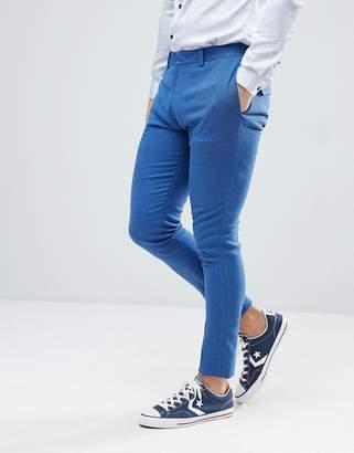 Asos Design Wedding Super Skinny Suit Pant In Bright Blue Micro Texture