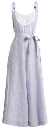 Wiggy Kit - Bib Front Linen Jumpsuit - Womens - Light Blue