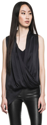 LAMARQUE - Flora Sueded Silk Wrap Top In Black $195 thestylecure.com