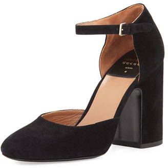 Laurence Dacade Mindy Suede d'Orsay Ankle-Wrap Pump, Black $750 thestylecure.com