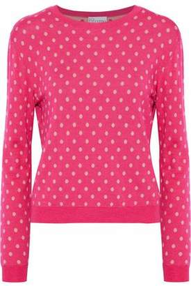 RED Valentino Polka-dot Intarsia Wool, Silk And Cashmere-blend Sweater