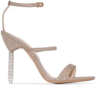 Sophia Webster champagne glitter rosalind 100 leather sandals