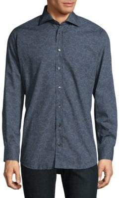 Luciano Barbera Paisley Cotton Casual Button-Down Shirt