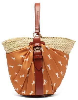 Chloé Panier Contrast Panel Leather Trimmed Basket Bag - Womens - Brown Multi