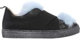Nappa Leather & Fur Slip-On Sneakers