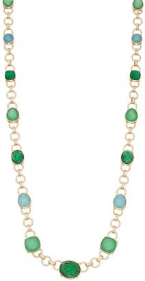 Vera Wang Simply Vera Gold Tone Chain Detail Green & Blue Simulated Crystal Strand Necklace