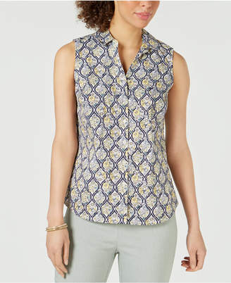 b3d4872df0db1 Charter Club Petite Sleeveless Button-Up Shirt