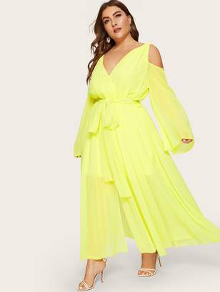 Shein Plus Cold Shoulder Surplice Front Belted Neon Yellow Dress