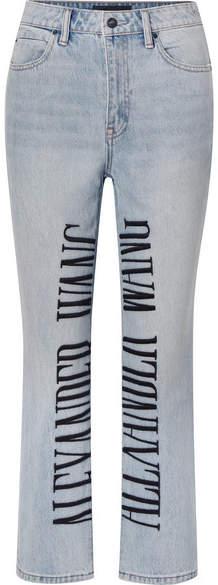 Cult Embroidered High-rise Straight-leg Jeans - Light denim