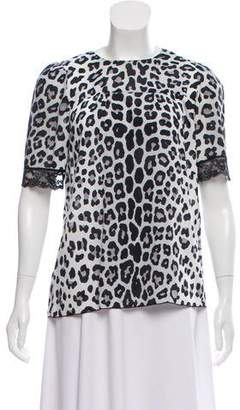Marc Jacobs Lace-Trimmed Printed Top