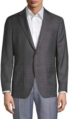 Saks Fifth Avenue Made In Italy Wool & Silk Plaid Jacket