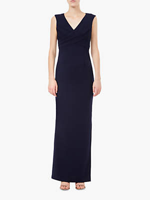 Adrianna Papell Long Crepe Sleeveless V-Neck Dress, Midnight