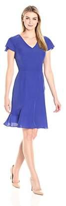 Lark & Ro Women's Flutter Sleeve V-Neck Fit and Flare Dress