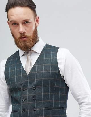 Asos DESIGN Skinny Suit Vest In Khaki Country Check