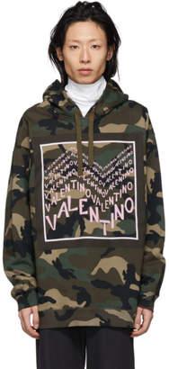 Valentino Green Camo Chevron Logo Hoodie
