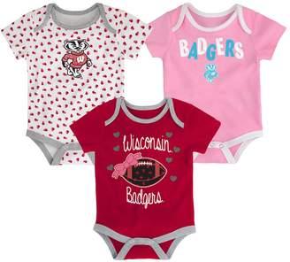 NCAA Kohl's Baby Wisconsin Badgers Heart Fan 3-Pack Bodysuit Set